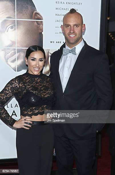 Football player Mark Herzlich and Danielle Conti attend the Collateral Beauty world premiere at Frederick P Rose Hall Jazz at Lincoln Center on...