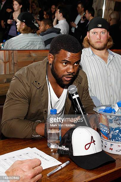 Football Player Mark Ingram attends the Paige management group 2nd annual NFL draft QA event at The Ainsworth on April 26 2012 in New York City