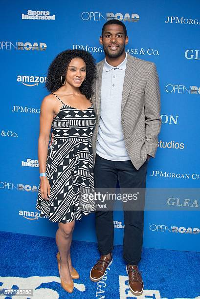 Football player Marques Colston and Emily Colston attend the 'Gleason' New York premiere at Henry Luce Theater on July 18 2016 in New York City