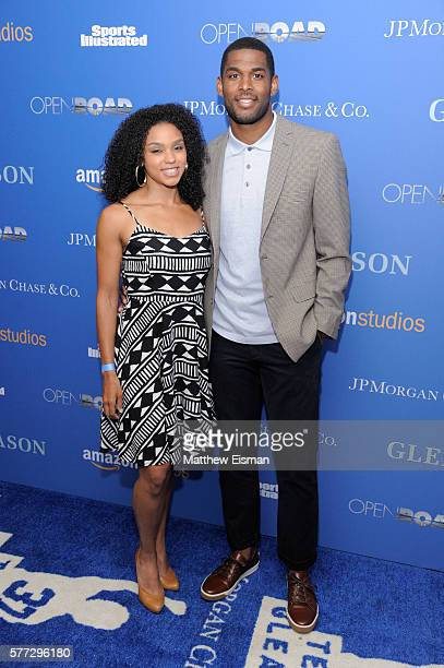 NFL football player Marques Colston and Emily Colston attend the 'Gleason' New York premiere at Henry Luce Theater on July 18 2016 in New York City