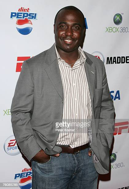 Football player Marshall Faulk attends the Madden NFL 08 consumer launch party hosted by ESPN and EA sports at the ESPN Zone on August 13 2007 in New...