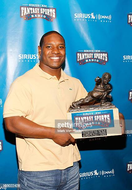 Football player Maurice Jones-Drew attends the SIRIUS XM Radio celebrity fantasy football draft at Hard Rock Cafe - Times Square on July 21, 2010 in...