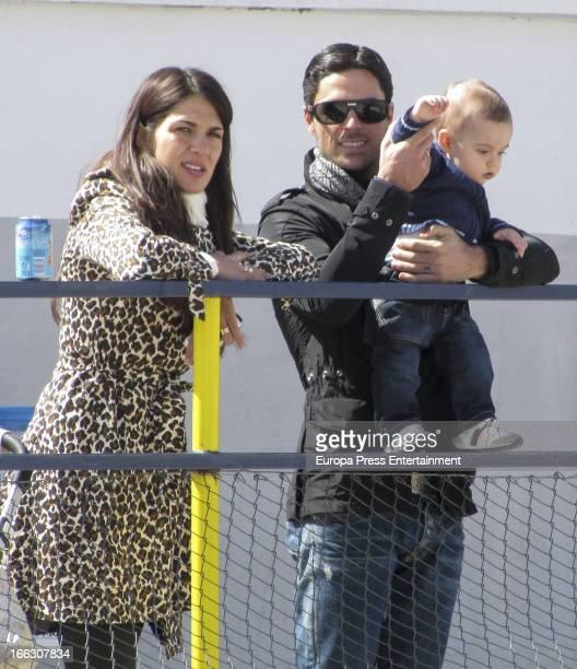 Football player Mikel Arteta his wife Lorena Bernal and their sons Gabriel Arteta and Daniel Arteta are seen on March 25 2013 in Madrid Spain