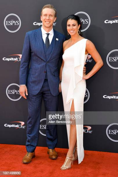 Football player Nick Foles and Tori Moore attend The 2018 ESPYS at Microsoft Theater on July 18 2018 in Los Angeles California