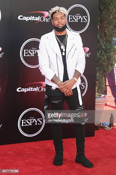 NFL football player Odell Beckham Jr arrives at The 2016 ESPYS at Microsoft Theater on July 13 2016 in Los Angeles California