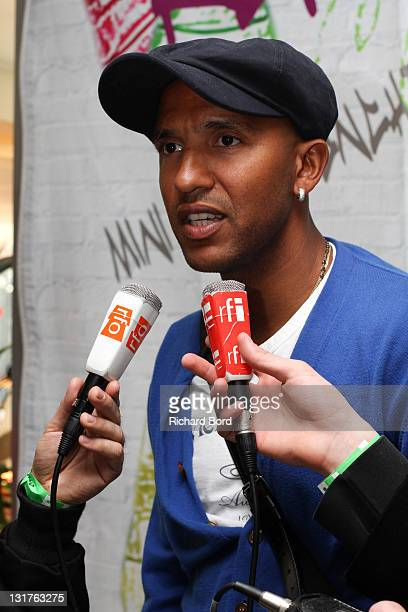 Football player Olivier Dacourt gives an interview before the World Charity Soccer 2010 Charity Match for Haiti at Stade Charlety on May 19 2010 in...