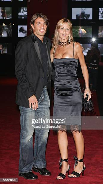 Football player Paolo Maldini and his wife, model Adriana Fossa, arrive at a party for Dolce & Gabbana celebrating their 20th year in business on...