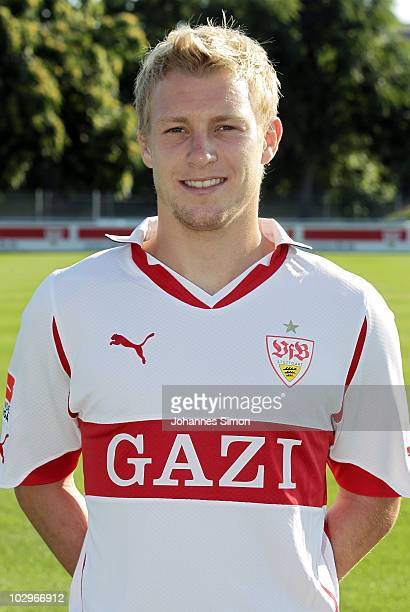 Football player Patrick Funk poses during the VfB Stuttgart team presentation on July 19 2010 in Stuttgart Germany