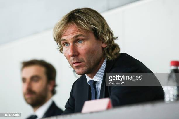 Football player Pavel Nedved looks on during the International Champions Cup match between Juventus and FC Internazionale at the Nanjing Olympic...