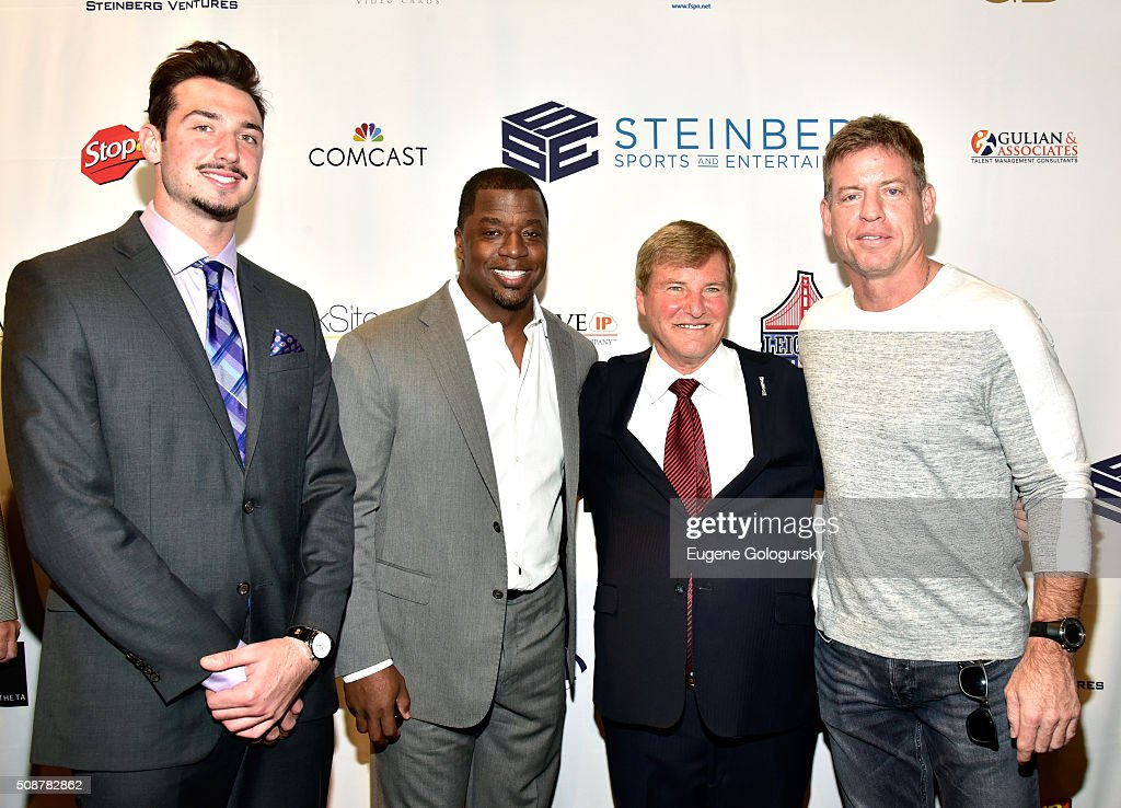 Football player Paxton Lynch, retired professional football player Kordell Stewart, sports agent Leigh Steinberg, and retired professional football player Troy Aikman attend the 29th Annual Leigh Steinberg Super Bowl Party on February 6, 2016 in San Francisco, California.