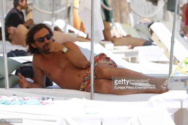 Football Player Pirlo Valentina Baldini and son are seen on July 09 2019 in Ibiza Spain