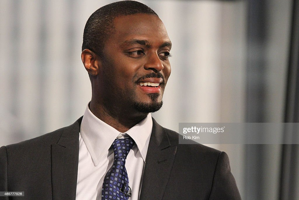 Football player Plaxico Burress visits 'Opening Bell With Maria Bartiromo' on the FOX Business Network at FOX Studios on March 10, 2015 in New York City.
