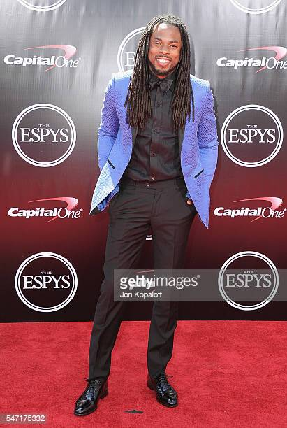 NFL football player Richard Sherman arrives at The 2016 ESPYS at Microsoft Theater on July 13 2016 in Los Angeles California