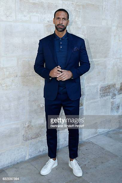Football player Rio Ferdinand attends the Louis Vuitton Menswear Fall/Winter 2017-2018 show as part of Paris Fashion Week. Held at Palais Royal on...