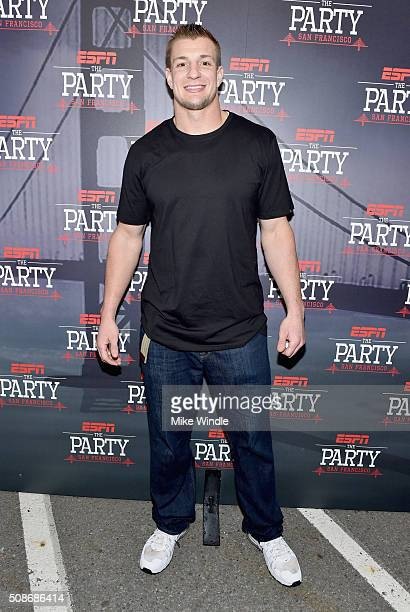 Football player Rob Gronkowski attends ESPN The Party on February 5 2016 in San Francisco California