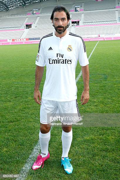 Football player Robert Pires plays the Football match for the benefit of the association 'Plus fort la vie' at Stade Jean Bouin on June 9, 2014 in...