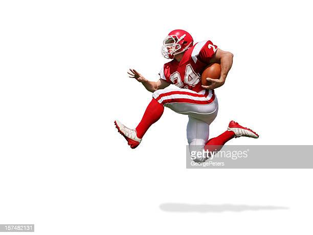 football player running with clipping path - football player stock pictures, royalty-free photos & images