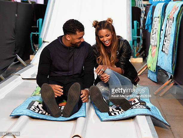 Football player Russell Wilson and recording artist Ciara attend the Nickelodeon Kids' Choice Sports Awards 2016 at UCLA's Pauley Pavilion on July 14...