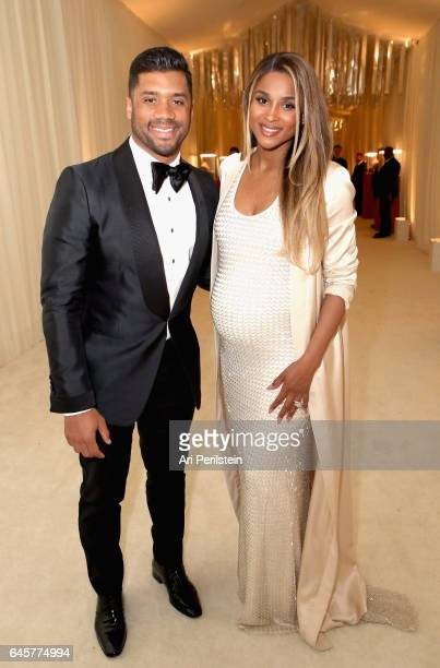 Football player Russell Wilson and singer Ciara attend the 25th Annual Elton John AIDS Foundation's Academy Awards Viewing Party at The City of West...