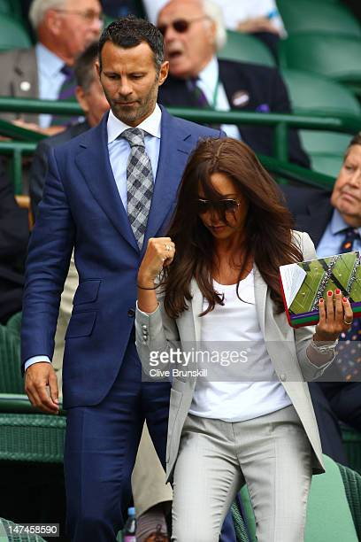 Football player Ryan Giggs and his wife Stacey Cooke attend the Ladies' Singles third round match Serena Williams of the USA and Jie Zheng of China...
