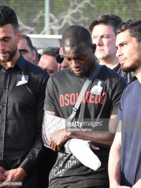 Football player Sackey of Aytemiz Alanyaspor attends the ceremony for Czech striker of Turkish football club Alanyaspor Josef Sural who died in a...