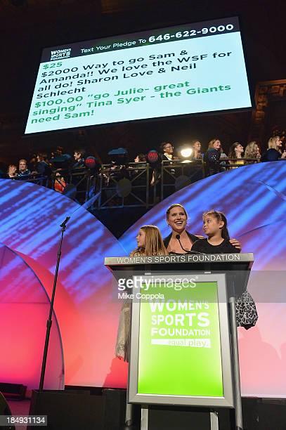 Football player Samantha Gordon Ice Hockey player Angela Ruggiero and GoGirlGo Amanda Rivera speak onstage during the 34th annual Salute to Women In...
