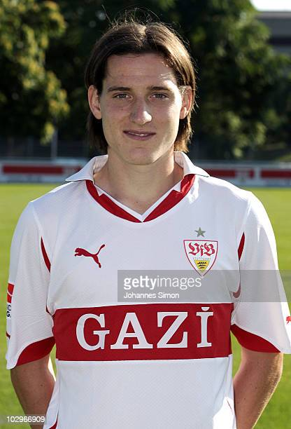 Football player Sebastian Rudy poses during the VfB Stuttgart team presentation on July 19 2010 in Stuttgart Germany