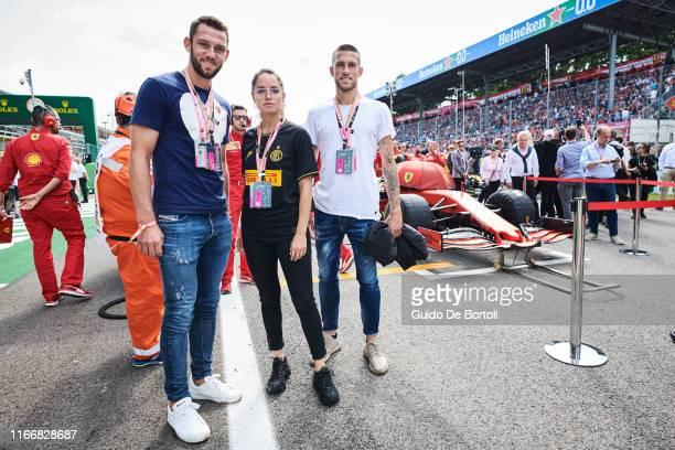 Football player Stefan De Vrij Italian actress Matilde Gioli and football player Cristiano Biraghi are seen on race day of the Formula 1 Italian...