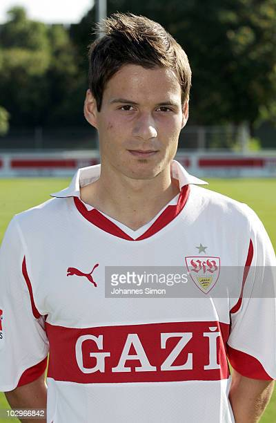 Football player Stefano Celozzi poses during the VfB Stuttgart team presentation on July 19 2010 in Stuttgart Germany