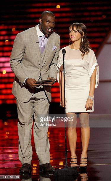 Football player Terrell Owens and actress Rashida Jones onstage during the 17th annual ESPY Awards held at Nokia Theatre LA Live on July 15 2009 in...