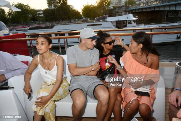 Football player Thomas Meunier and his companion Deborah Panzokou and guests attend Petanque Gastronomique 2019 hosted by Daniel Lauclair at Paris...