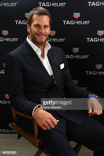 NFL football player Tom Brady appears as TAG Heuer announces Tom Brady as the new brand ambassador and launches the new Carrera Heuer 01 on October...
