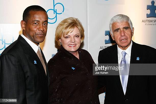 Football player Tony Dorsett Autisem Speaks CoFounder Suzanne Wright and Sirius Radio CEO Mel Karmazin arrive at the Waldorf Astoria hotel for the...