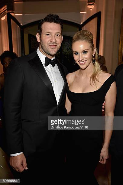 Football Player Tony Romo and Candace Crawford Romo attend the Bloomberg Vanity Fair cocktail reception following the 2015 WHCA Dinner at the...