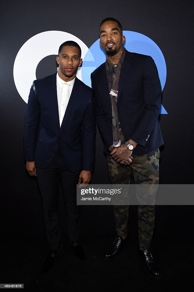 Football player Victor Cruz and basketball player J.R. Smith attend GQ and LeBron James Celebrate All-Star Style on February 14, 2015 in New York City.