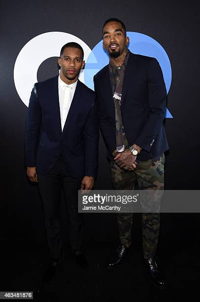 Football player Victor Cruz and basketball player JR Smith attend GQ and LeBron James Celebrate AllStar Style on February 14 2015 in New York City