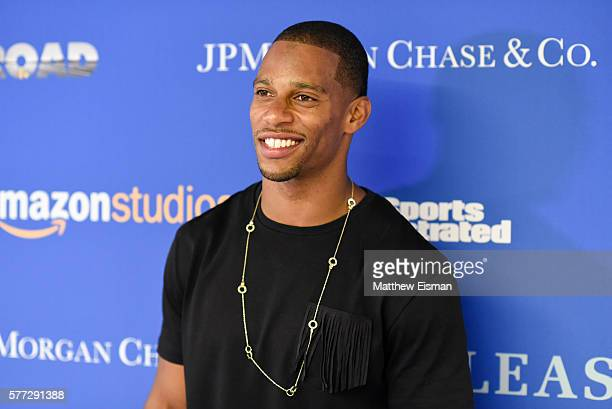 """Football player Victor Cruz attends the """"Gleason"""" New York premiere at Henry Luce Theater on July 18, 2016 in New York City."""