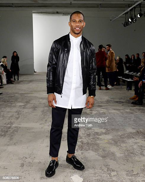 Football player Victor Cruz is seen front row during Ovadia Sons New York Fashion Week Men's Fall/Winter 2016 at Skylight at Clarkson Sq on February...
