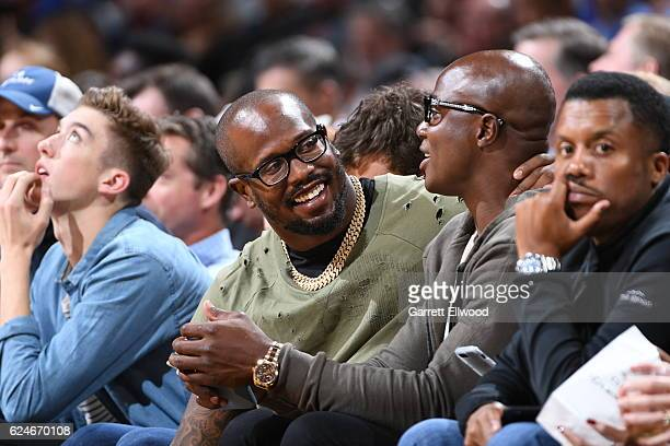 Football player Von Miller of the Denver Broncos watches the game between the Denver Nuggets and the Golden State Warriors on November 10 2016 at the...