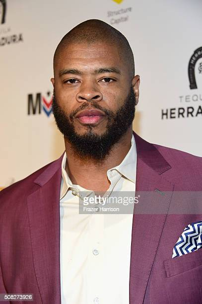 Football player Wade Smith attends Glazer Palooza and Suits and Sneakers on February 3 2016 in San Francisco California