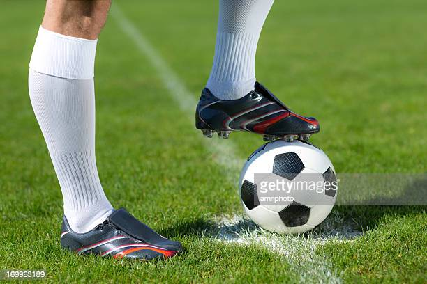 football player waiting for kick-off close up - kick off stock pictures, royalty-free photos & images