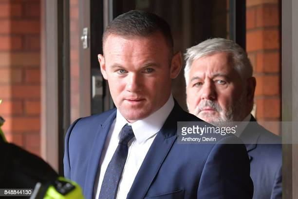 Football player Wayne Rooney leaves Stockport Magistrates Court after facing a drinkdriving charge on September 18 2017 in Stockport England The...