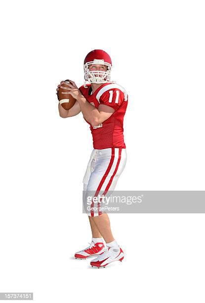 football-spieler mit clipping path - quarterback stock-fotos und bilder