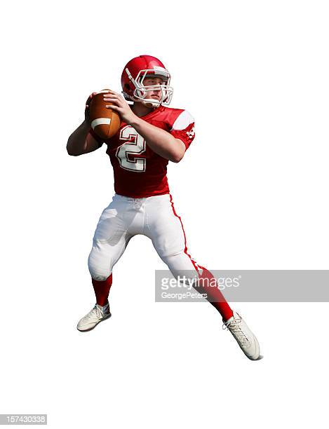 football player with clipping path - quarterback stock photos and pictures