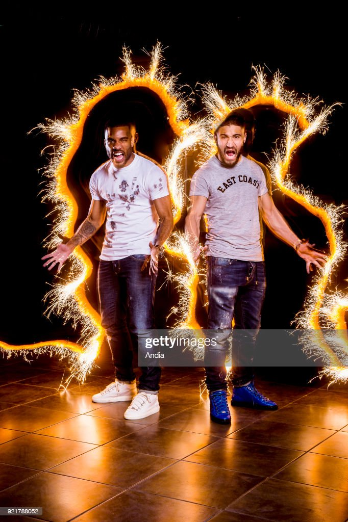 Football players Alexandre Lacazette and Nabil Fekir, playing for the Olympique Lyonnais and the France national team, on .