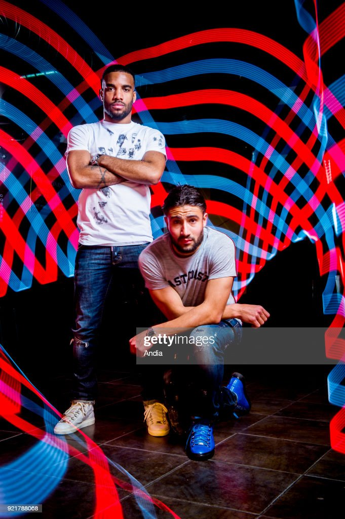Professional football players Alexandre Lacazette and Nabil Fekir. : News Photo