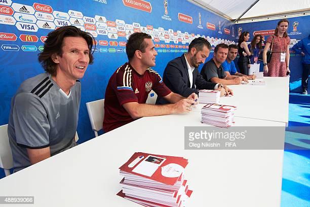 Football players Alexey Smertin, Alexander Kerzhakov, Gianluca Zambrotta, Lothar Matthaus and Fernando Hierro attend autograph session during the U16...