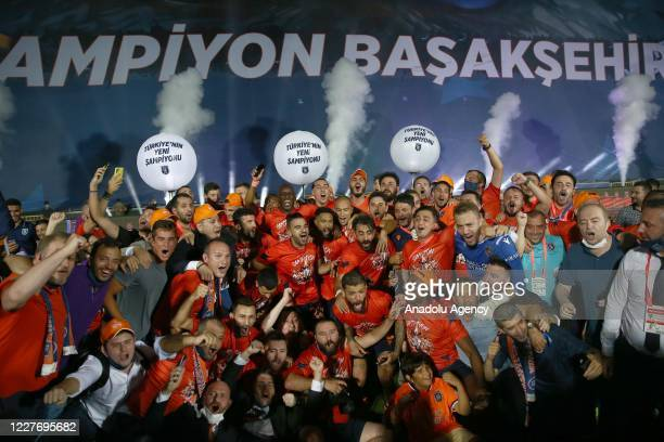 Football players celebrate as Medipol Basaksehir clinched the first ever Turkish Super Lig title after secondplace Trabzonspor lost to Konyaspor 43...