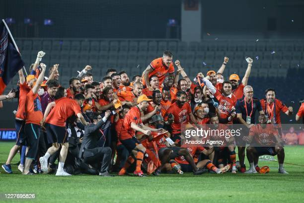 Football players celebrate as Medipol Basaksehir clinched the first ever Turkish Super Lig title after second-place Trabzonspor lost to Konyaspor...