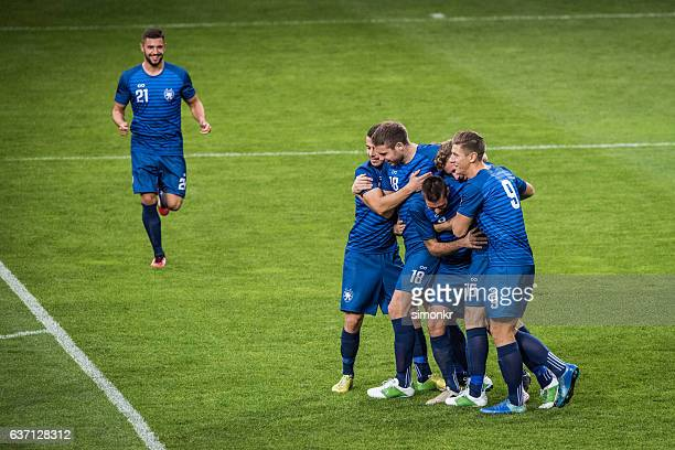 football players celebrating - soccer team stock pictures, royalty-free photos & images